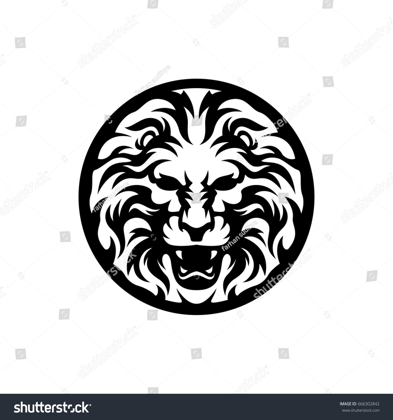 Medal Lion Silhouette Symbol Stock Vector Royalty Free 666302842