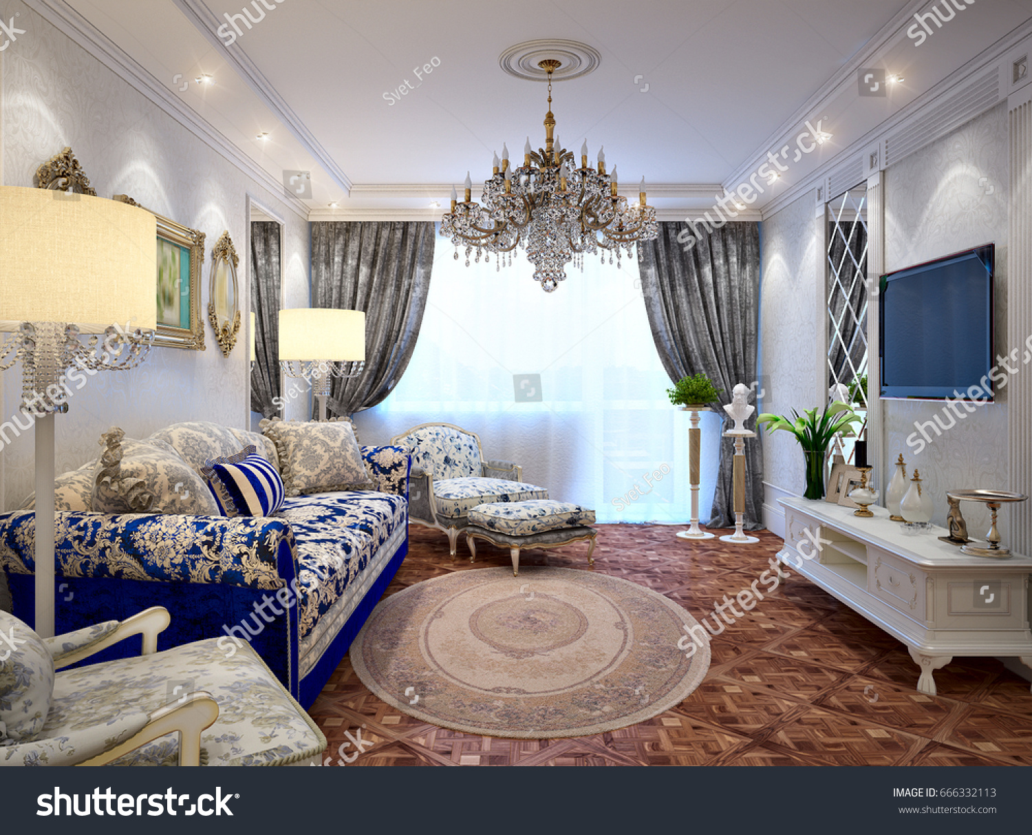 luxurious classic baroque living room interior design with mirrors wooden parquet floors white furniture