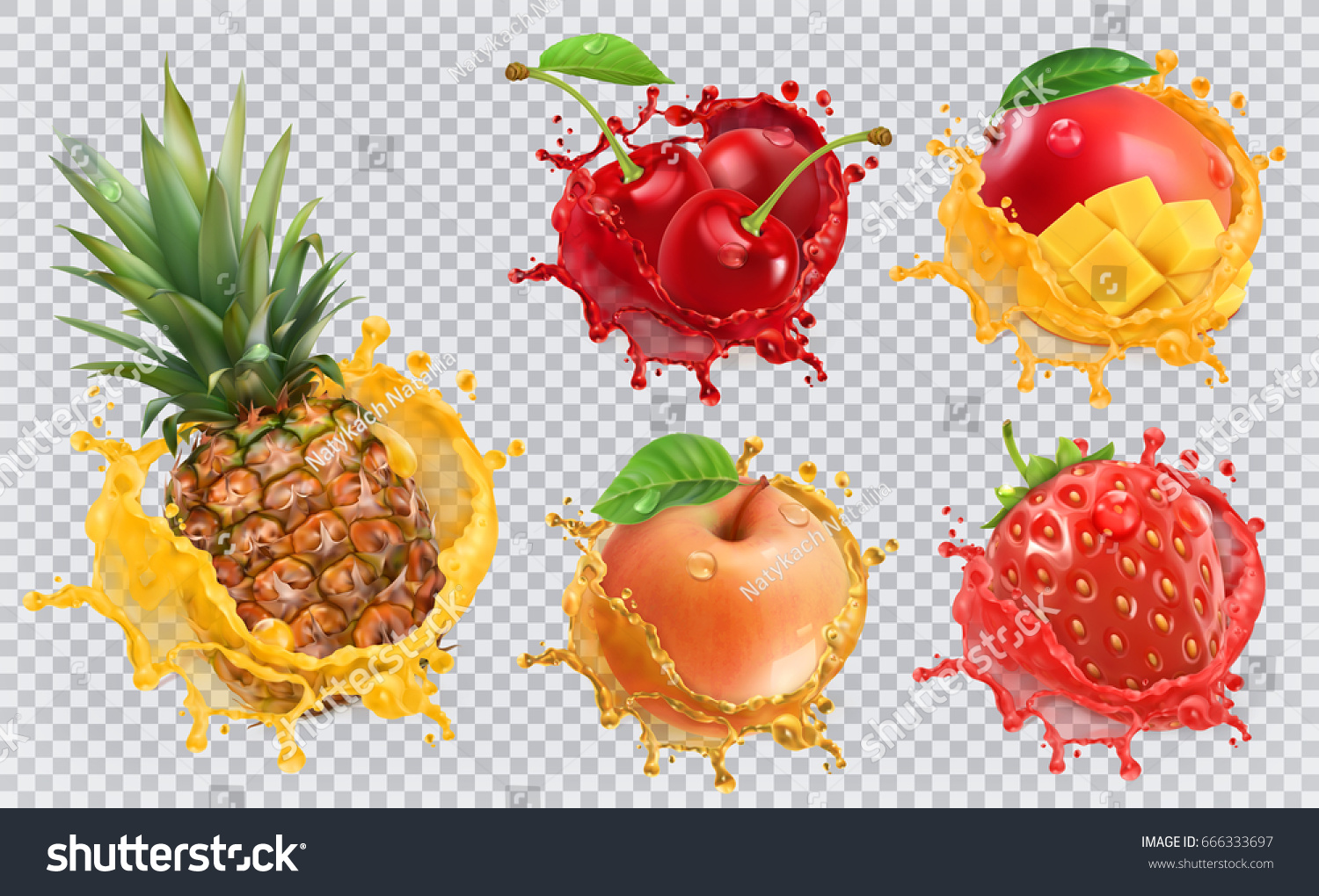 Pineapple, strawberry, apple, cherry, mango juice. Fresh fruits and splashes, 3d vector icon set #666333697