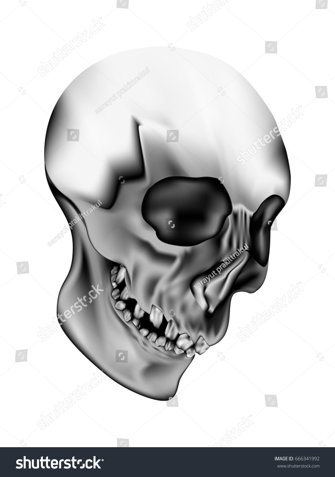 Visual Drawing Human Skull On Black Stock Vector 666341992 ...