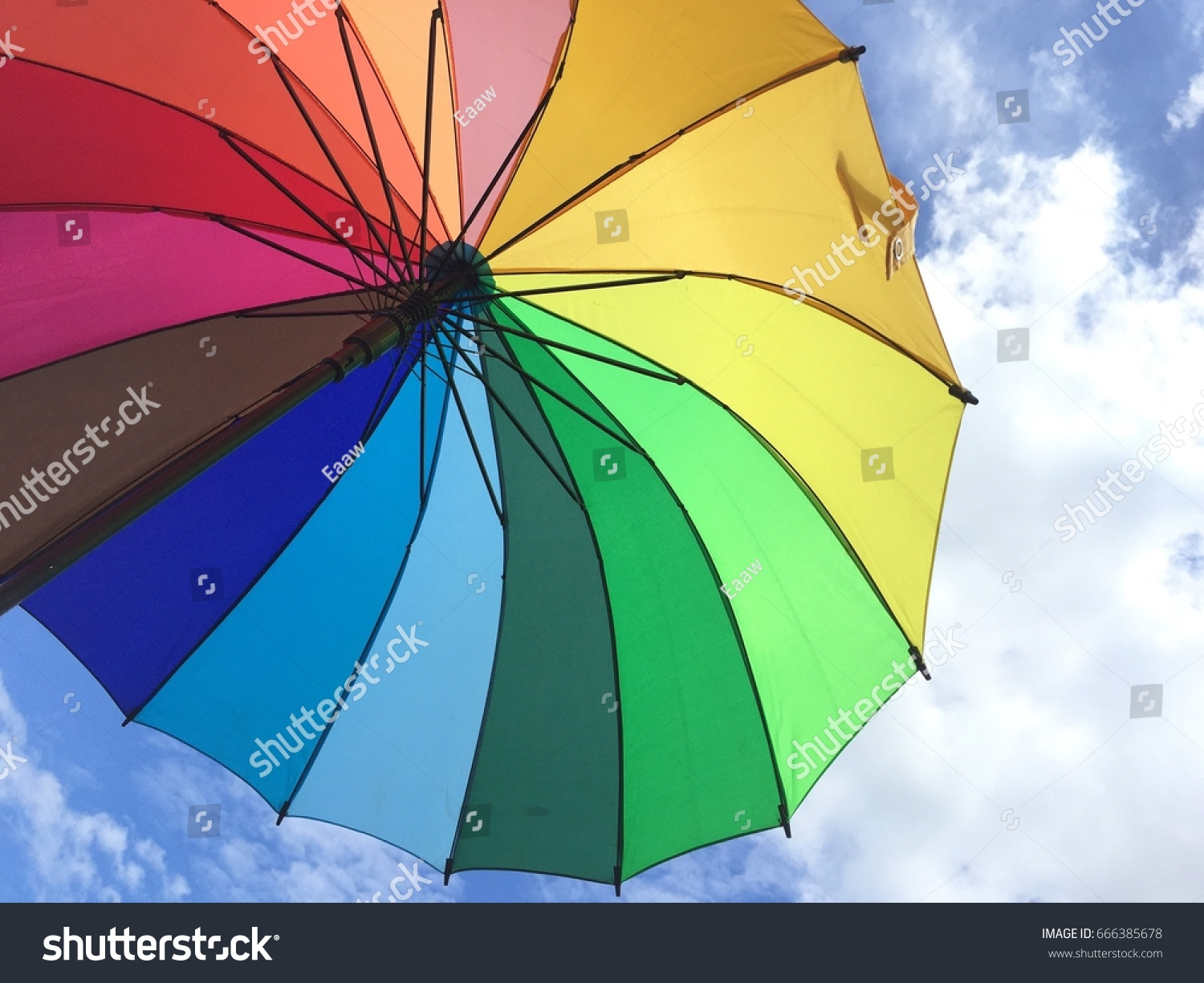 Colorful Umbrella Clearly Sky Stock Photo (Royalty Free) 666385678 ...