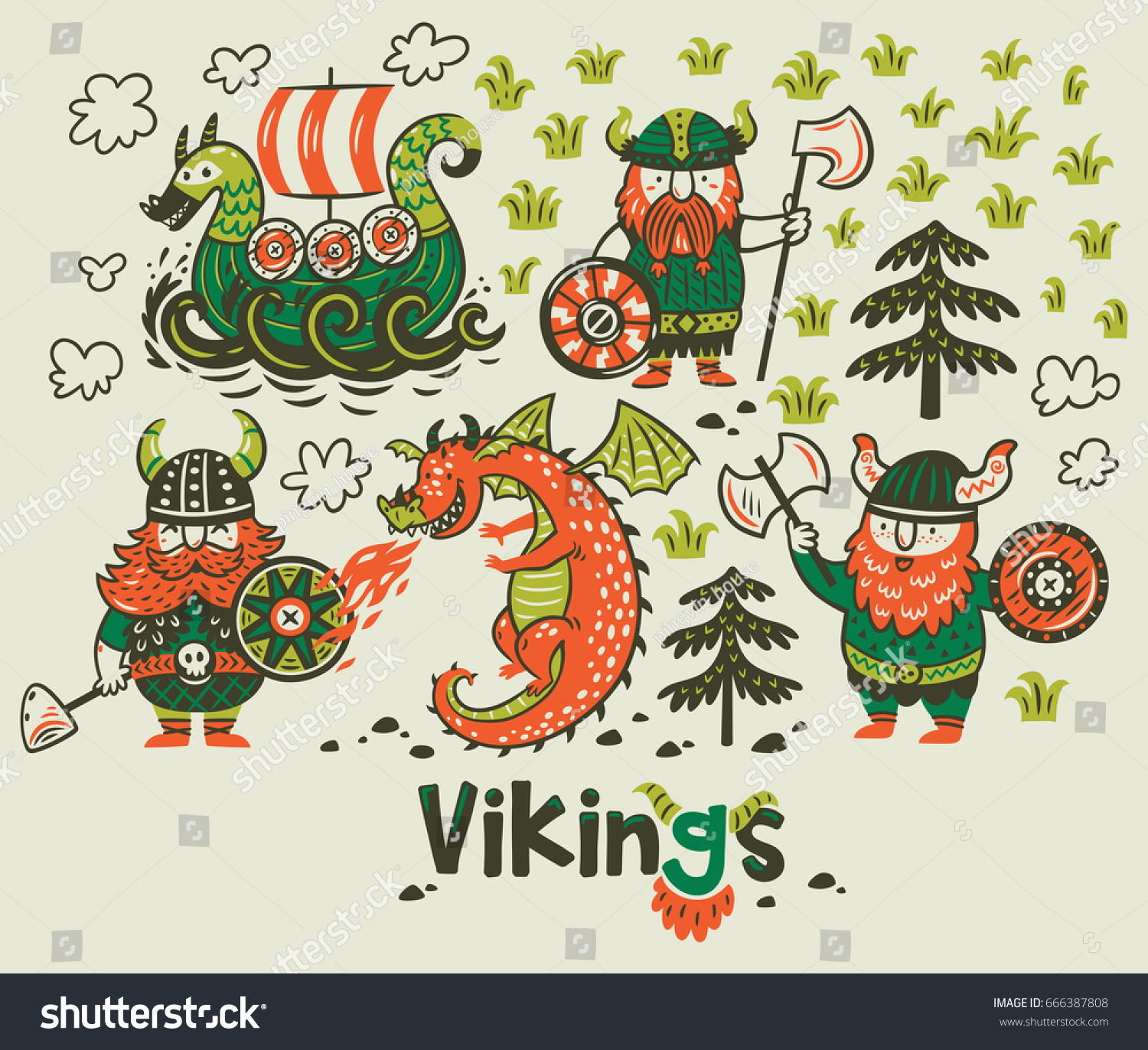 set three vikings dragon ship cartoon stock vector 666387808