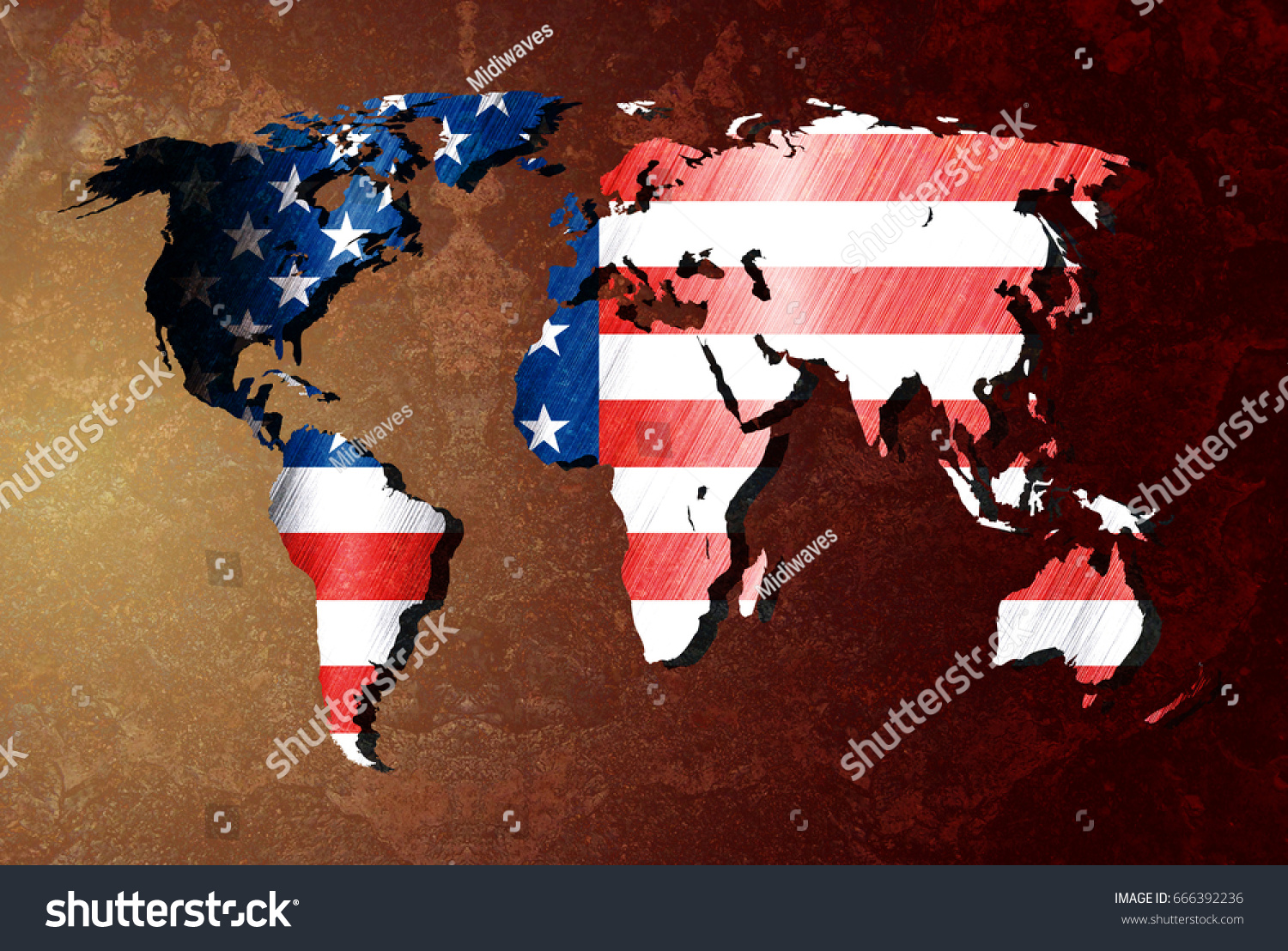 Usa flag on metallic world map stock illustration 666392236 usa flag on metallic world map stock illustration 666392236 shutterstock gumiabroncs Images