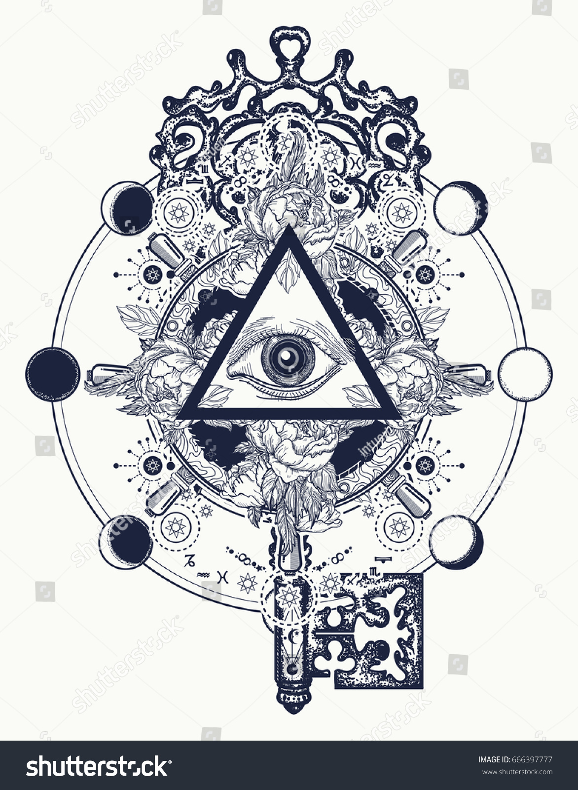 Masonic Eye Key Tattoo Symbols Freemason Stock Vector Royalty Free