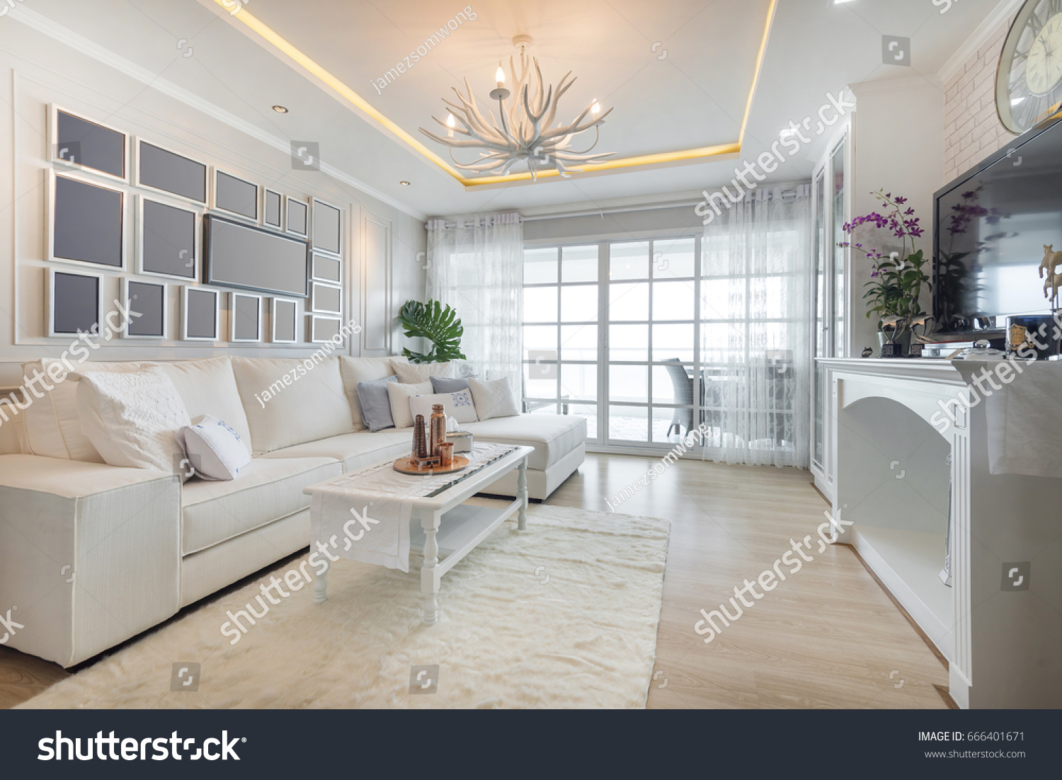 Renovation White Living Room Seaside Ambience Stock Photo (Royalty ...