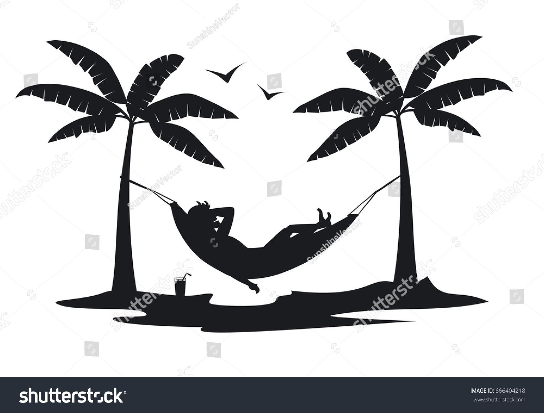 Person Relaxing Lying Hammock On Beach Stock Vector 666404218 Shutterstock