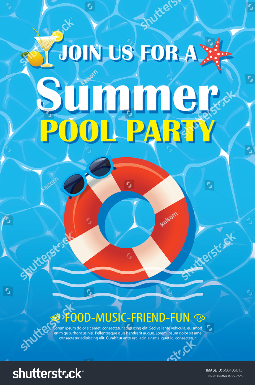 Pool party invitation poster blue water em vetor stock 666405613 pool party invitation poster with blue water vector summer background stopboris Choice Image
