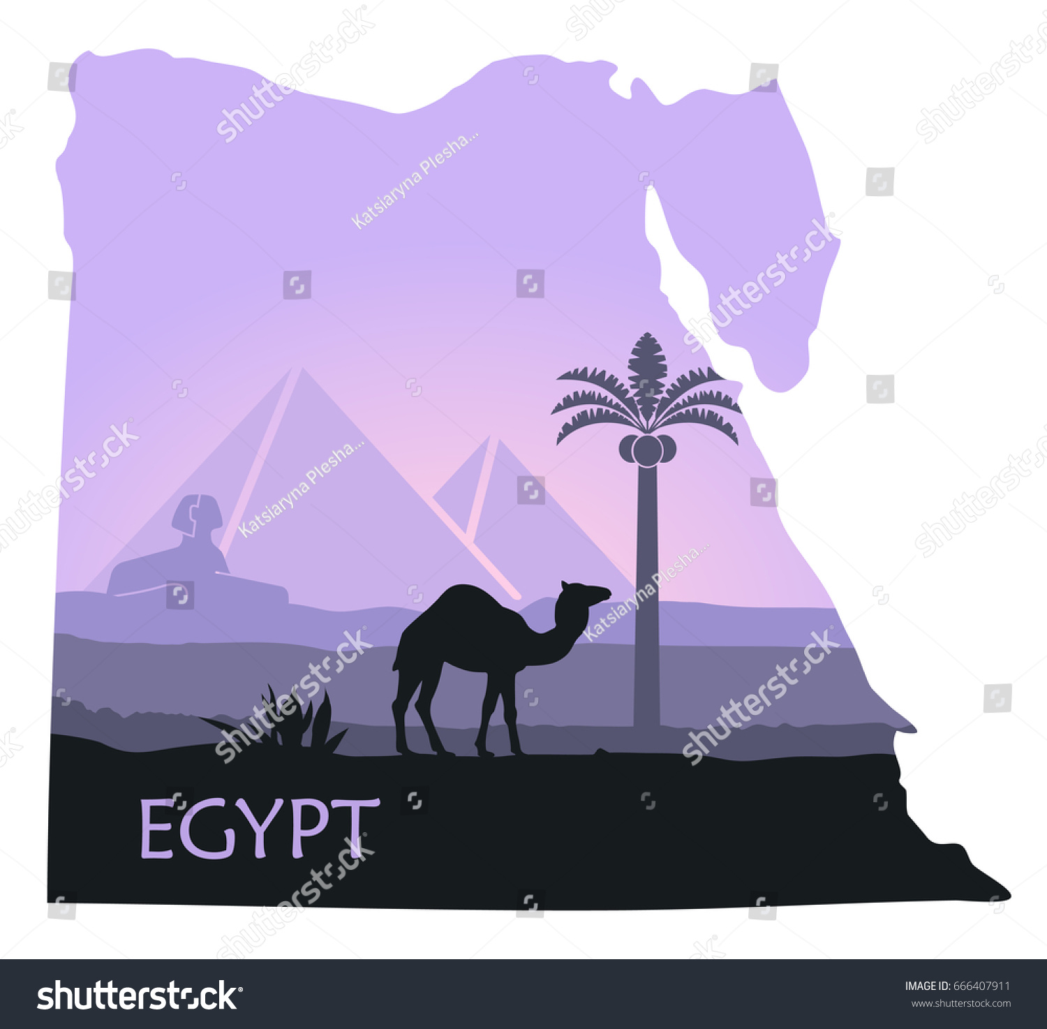 Map Egypt Image Landscape Pyramids Sphinx Stock Vector - Map of egypt pyramids and sphinx
