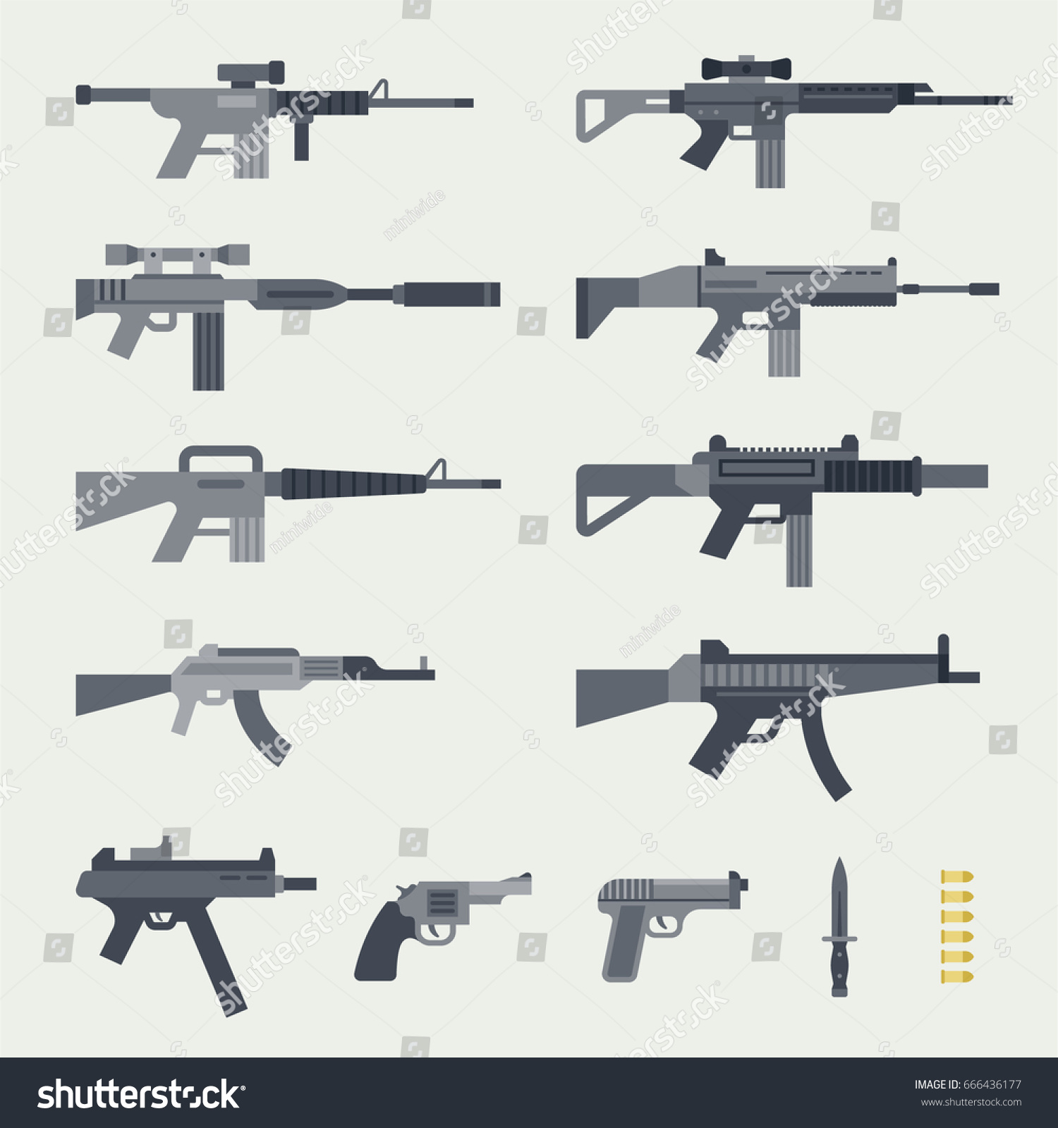 different types guns vector illustration flat のベクター画像素材