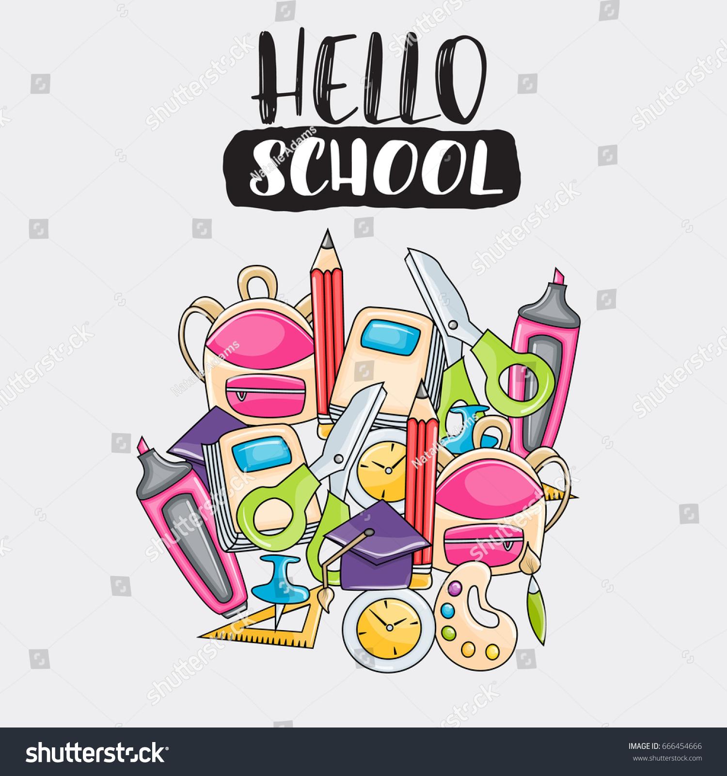 hello school doodle clip art greeting stock vector royalty free