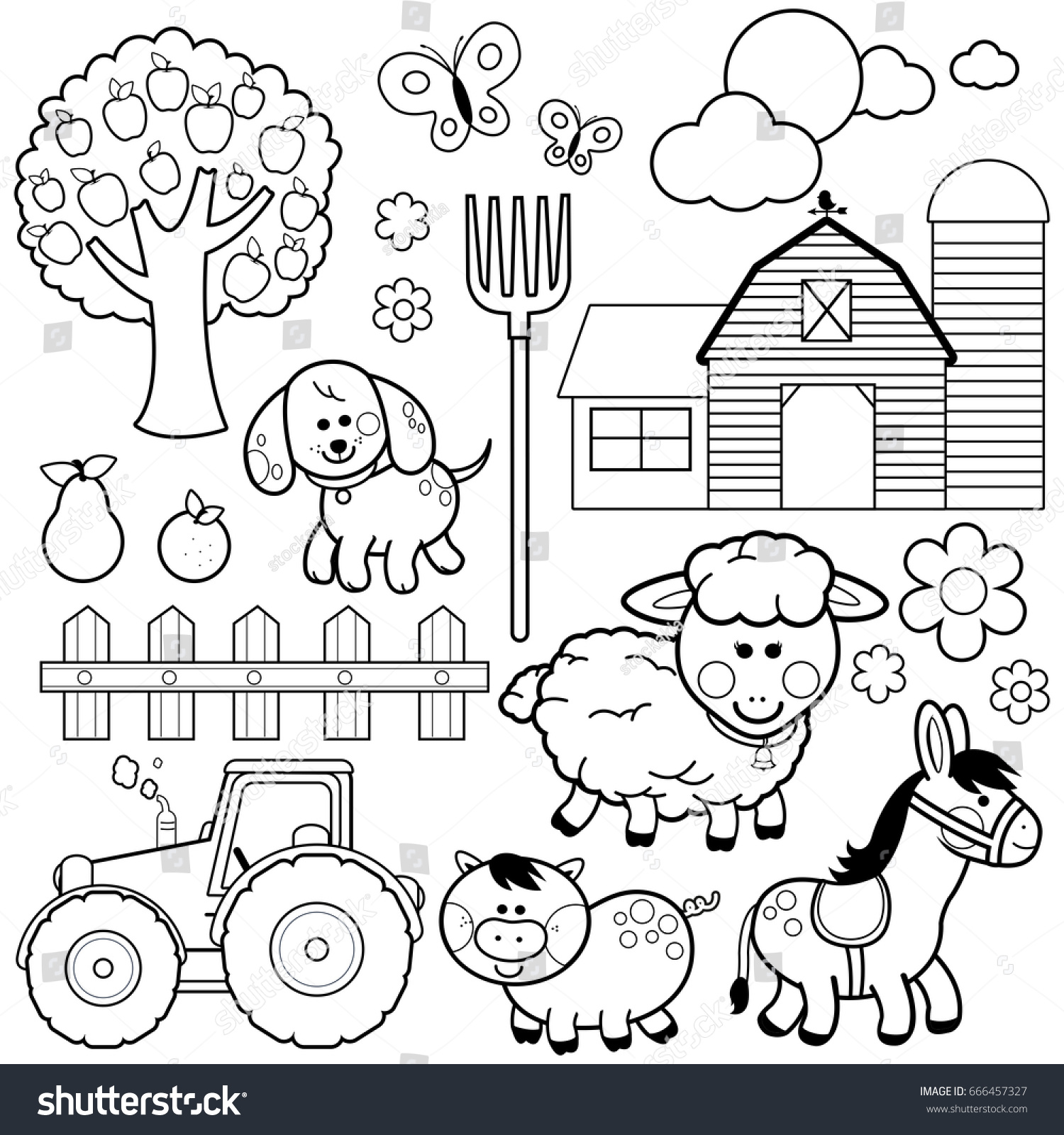 Farm Animals Black And White Coloring Book Page