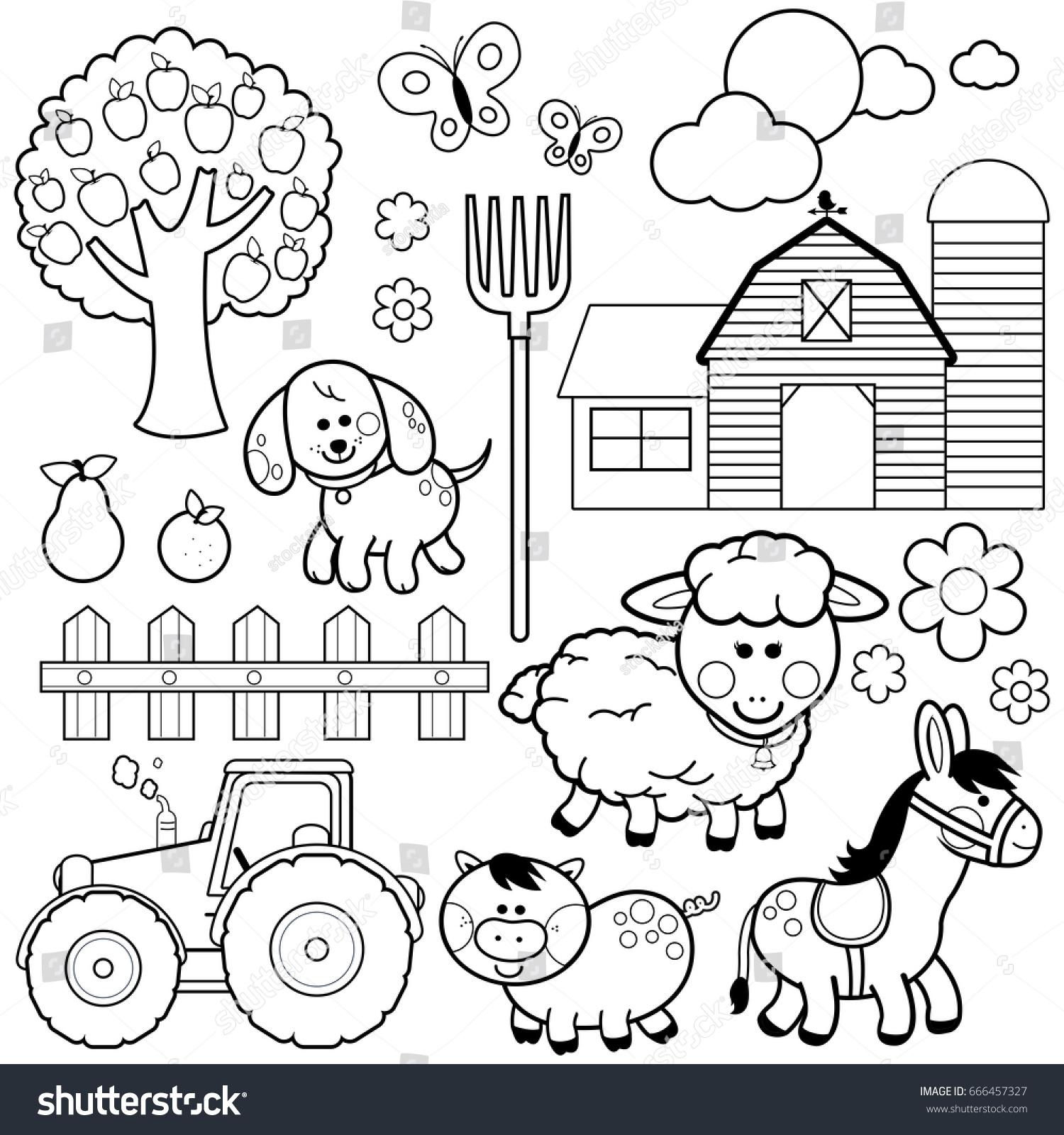 Farm Animals Black White Coloring Book Stock Vector