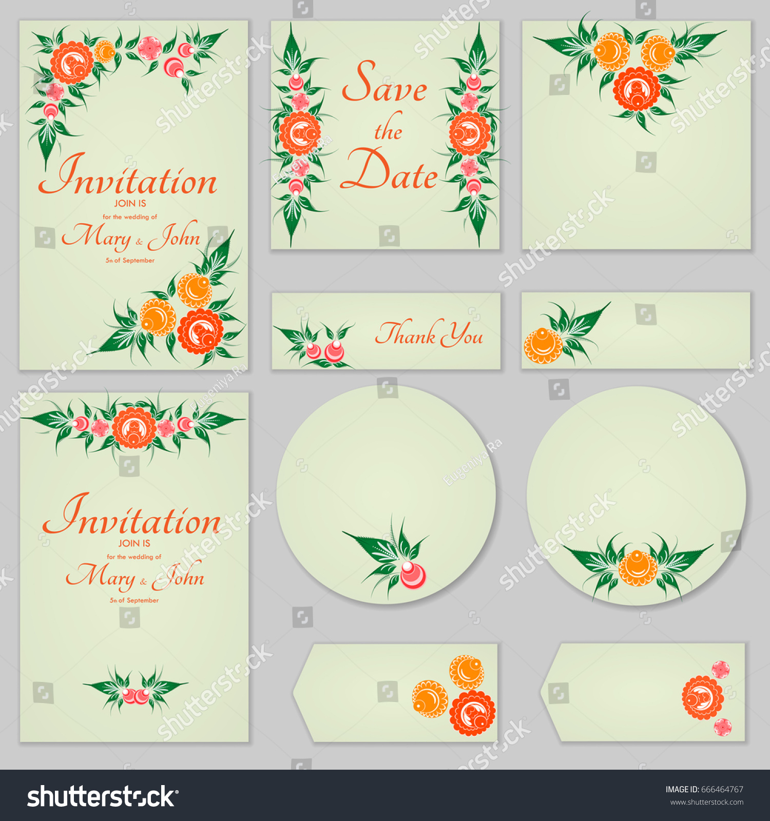 Collection Greeting Cards Stylized Orange Roses Stock Vector