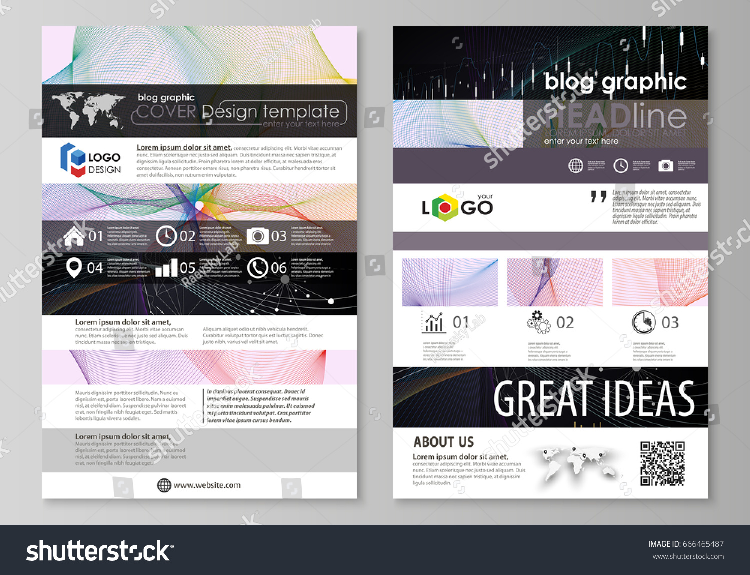 Blog Graphic Business Templates Page Website Stock Vector 666465487 ...
