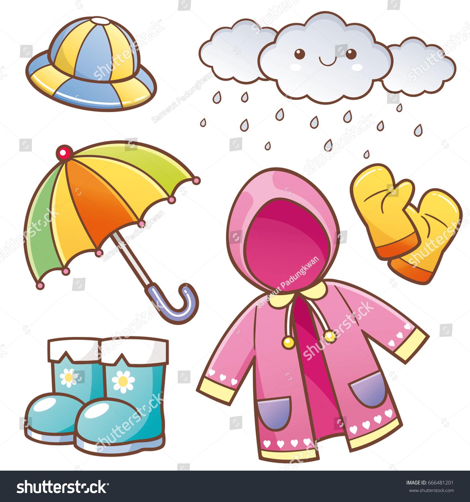 vector illustration cartoon rain clothes stock vector