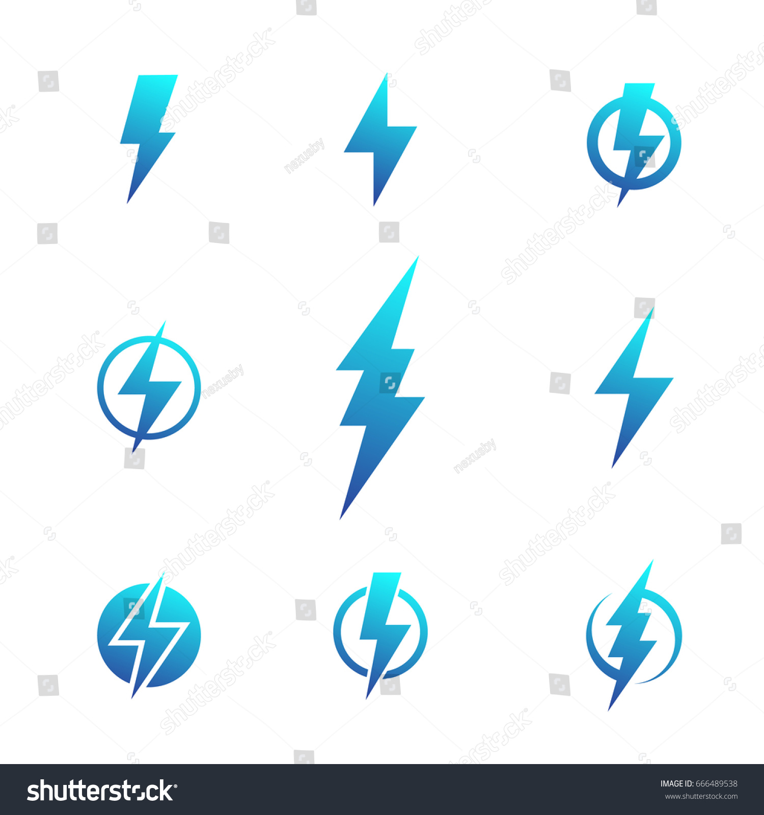 Lightning Bolt Signs Electricity Symbols Stock Vector 666489538 ...