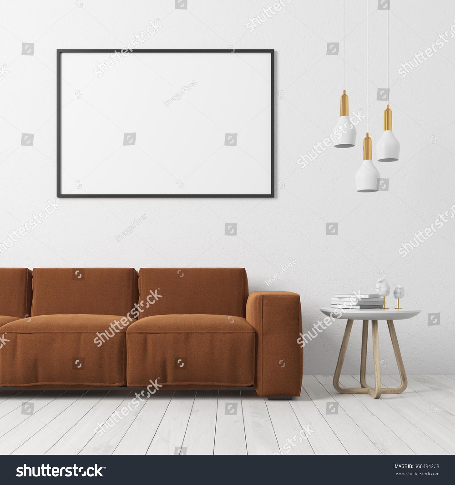 Living Room Interior White Wall White Stock Illustration 666494203 ...