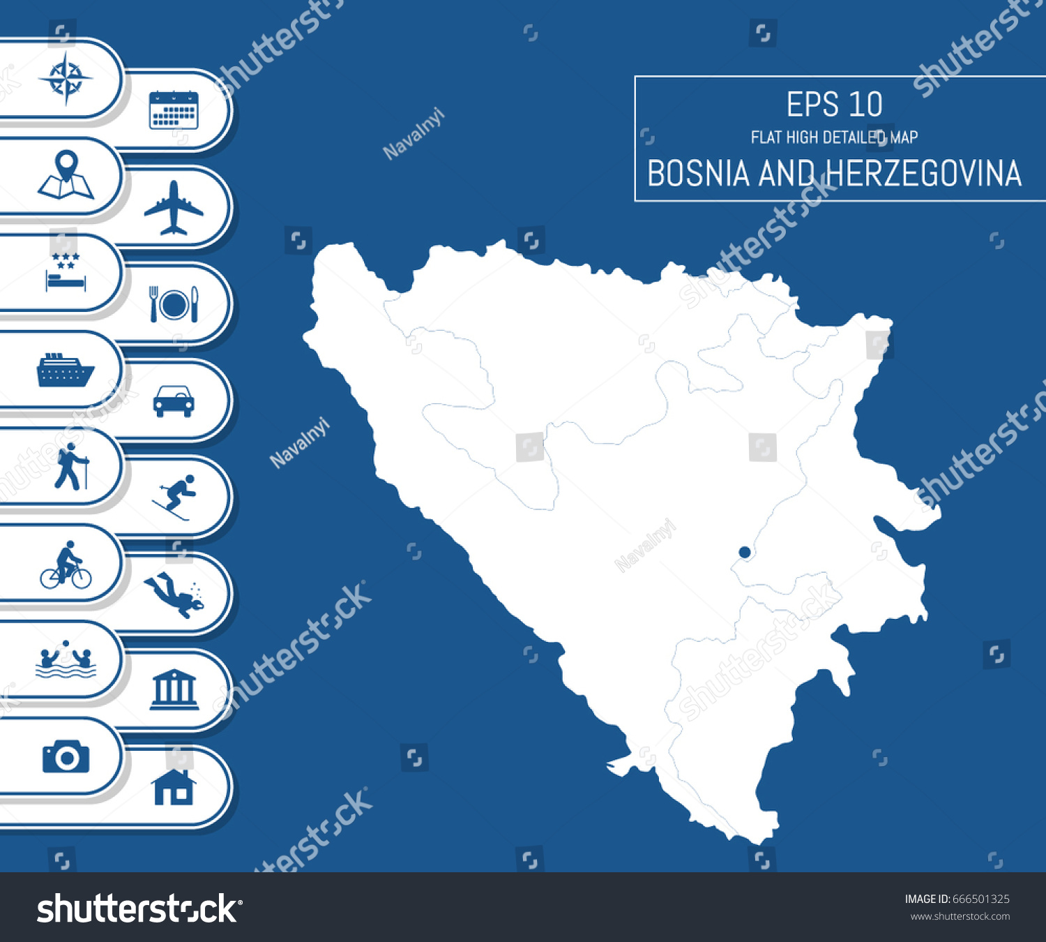 Flat High Detailed Bosnia Herzegovina Map Stock Vector 666501325