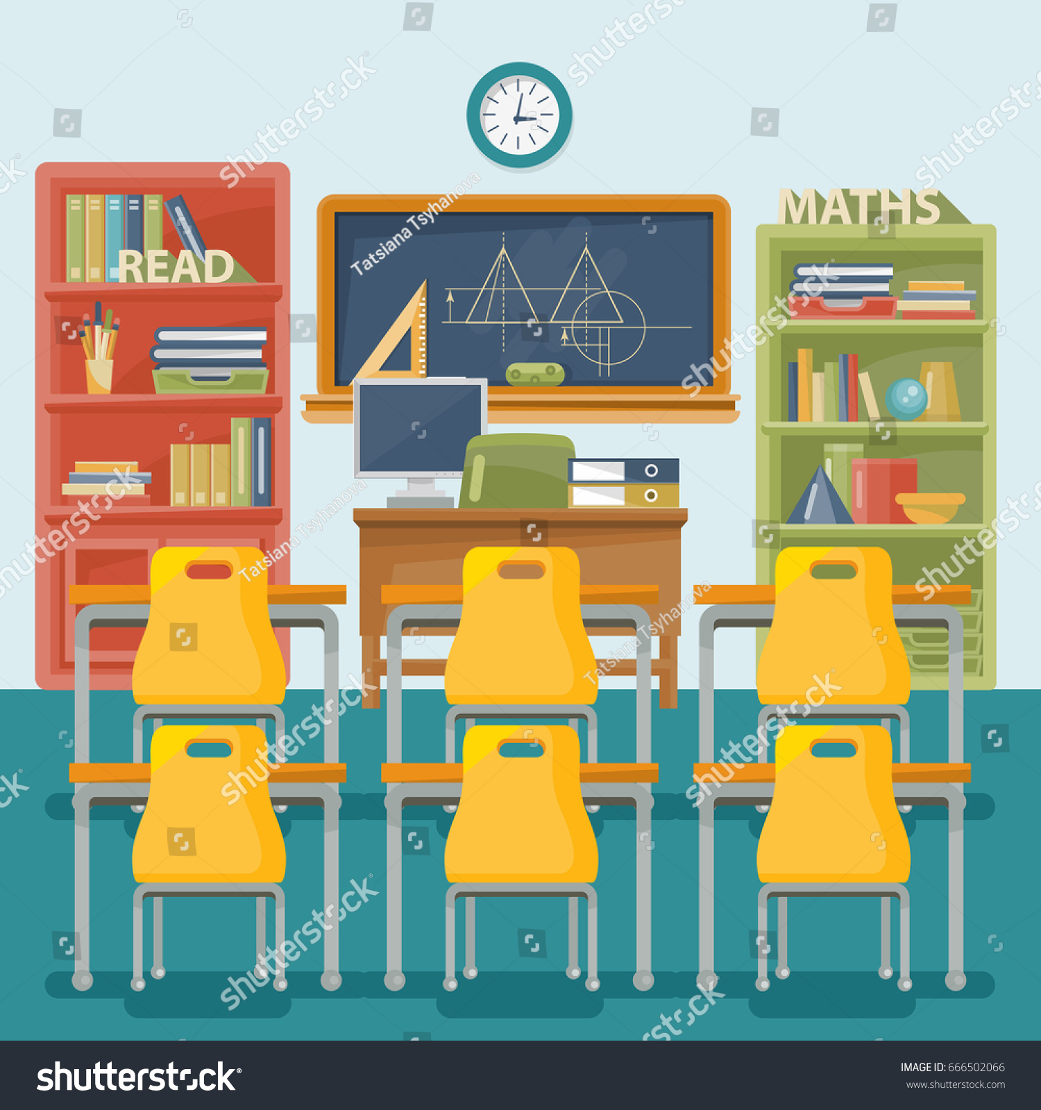 Back To School Vector Illustration Classroom With Desk Chalkboard And Chair