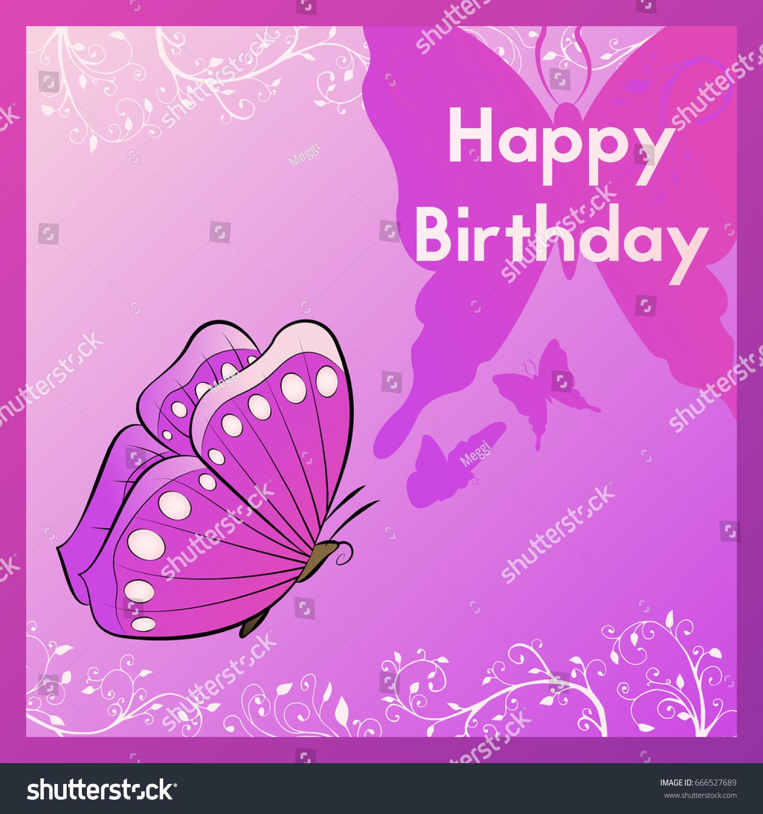Happy Birthday Greeting Card Purple Postcard Stock Vector