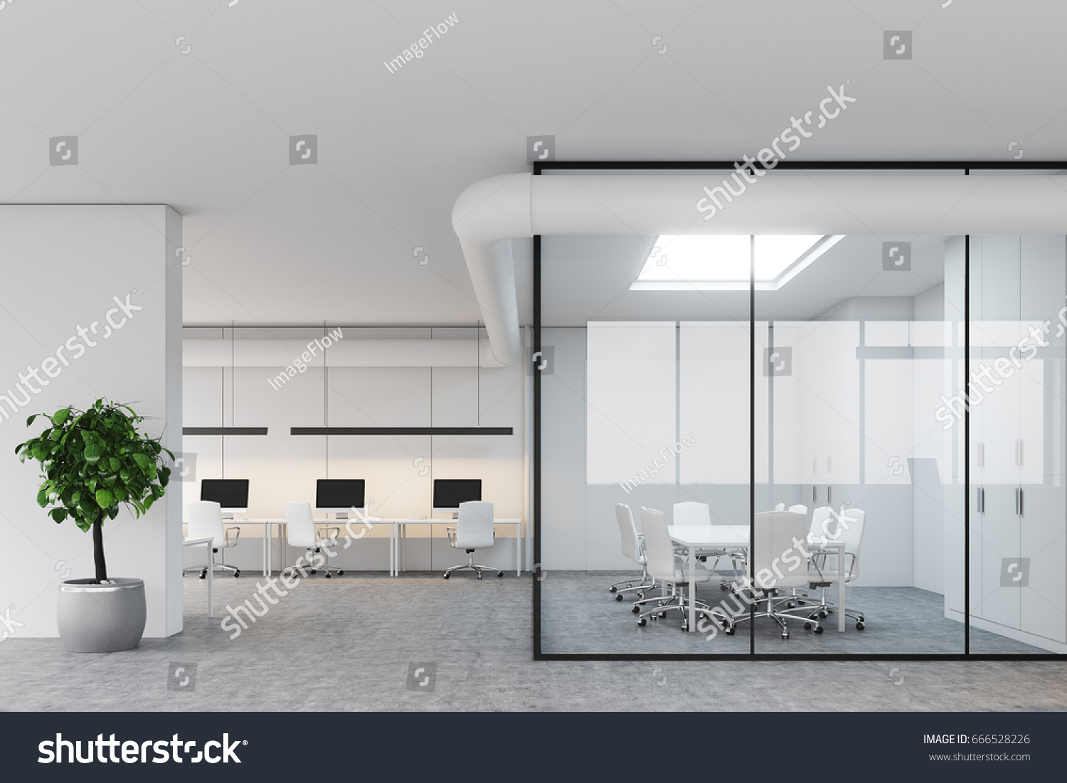 white modern office. Modern Office Lobby With White And Glass Walls, A Meeting Room An Open Space