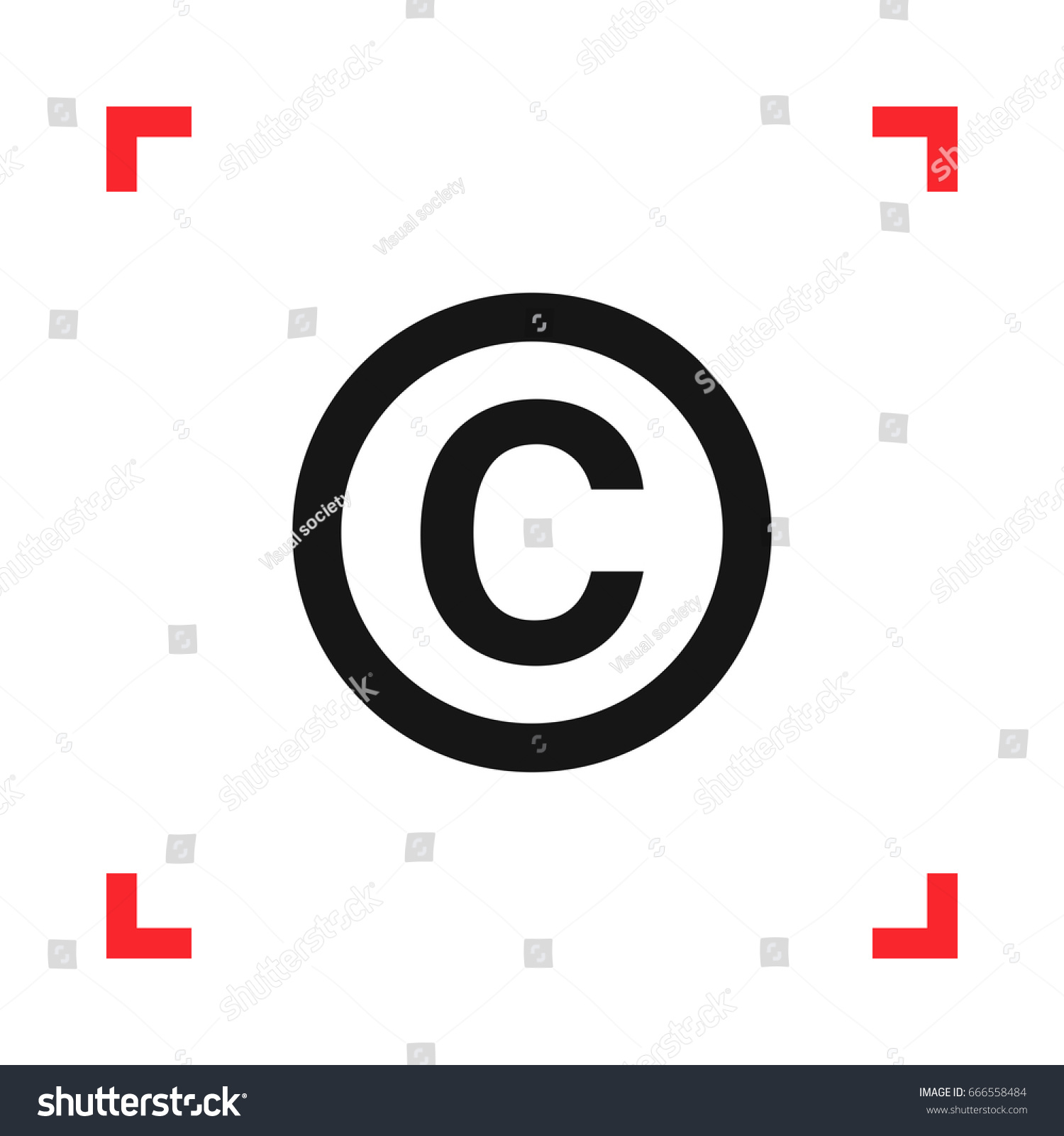 Copyright Symbol Red Viewfinder Isolated On Stock Vector 666558484