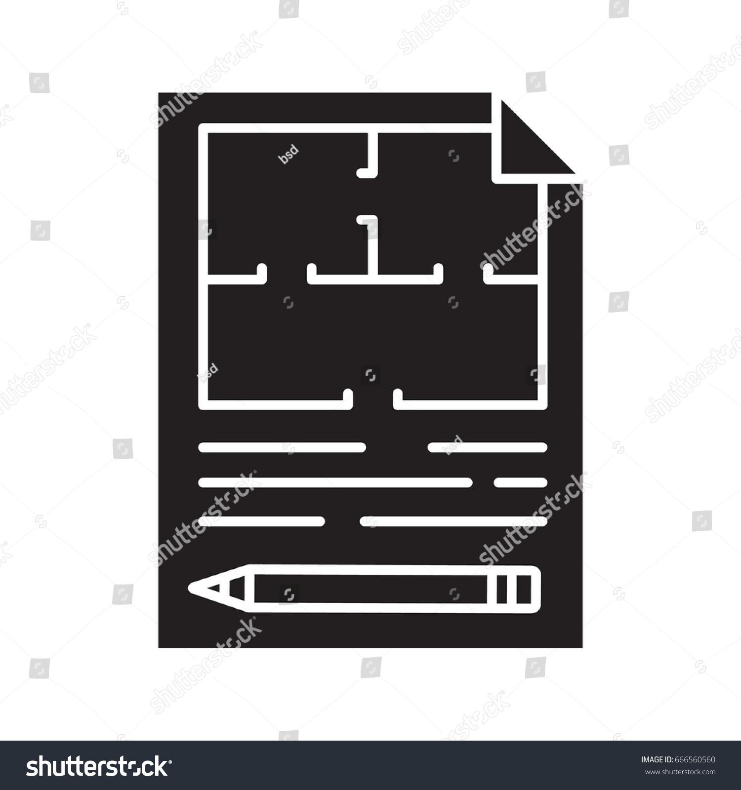 Floor plan flat blueprint pencil glyph stock vector 666560560 floor plan flat blueprint with pencil glyph icon apartment layout silhouette symbol house malvernweather Images
