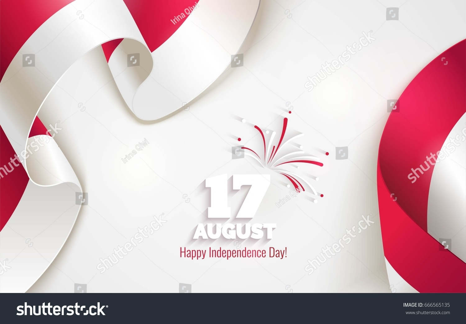 17 August. Indonesia Happy Independence Day Greeting Card. Waving  Indonesian Flags Isolated On White