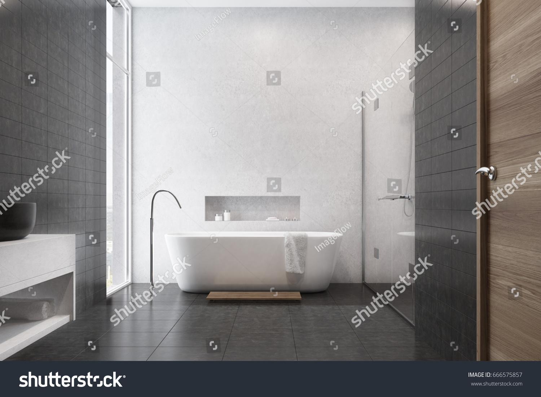 White Bathroom Interior Black Tiles Used Stock Illustration ...