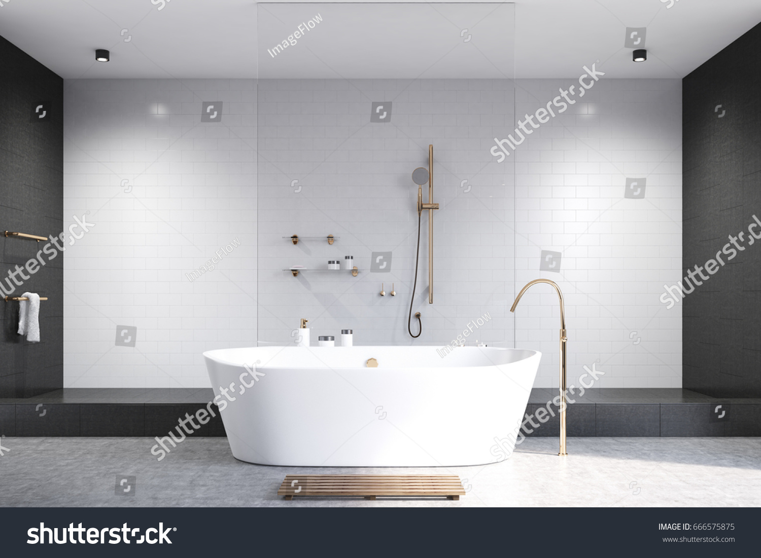 Luxury White Bathroom Interior White Black Stock Illustration ...