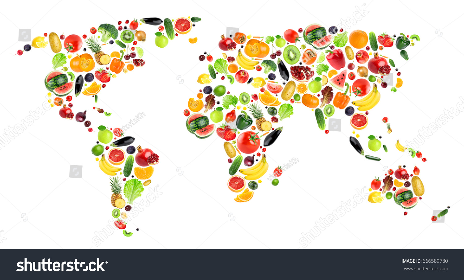 Collage fruits vegetables world map stock photo 666589780 collage of fruits and vegetables world map gumiabroncs Gallery