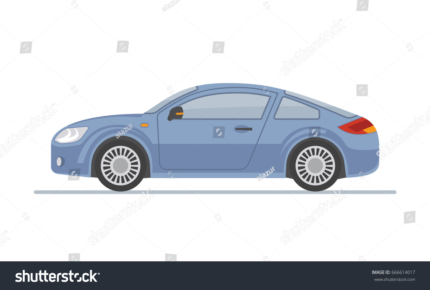 Superbe Blue Sports Car Isolated On White Background. Flat Style, Vector  Illustration.