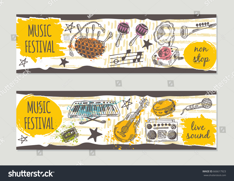 festival brochure design - music festival brochure flyer design retro stock vector