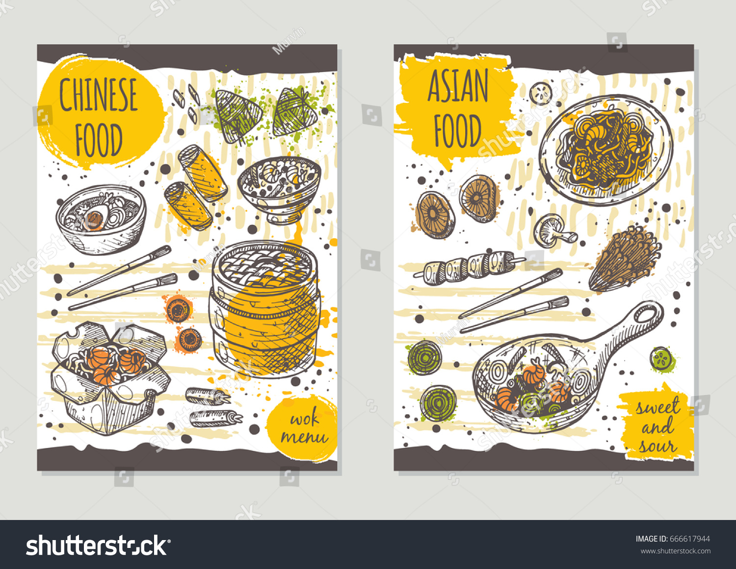 asian food brochure flyer design chinese stock vector 666617944