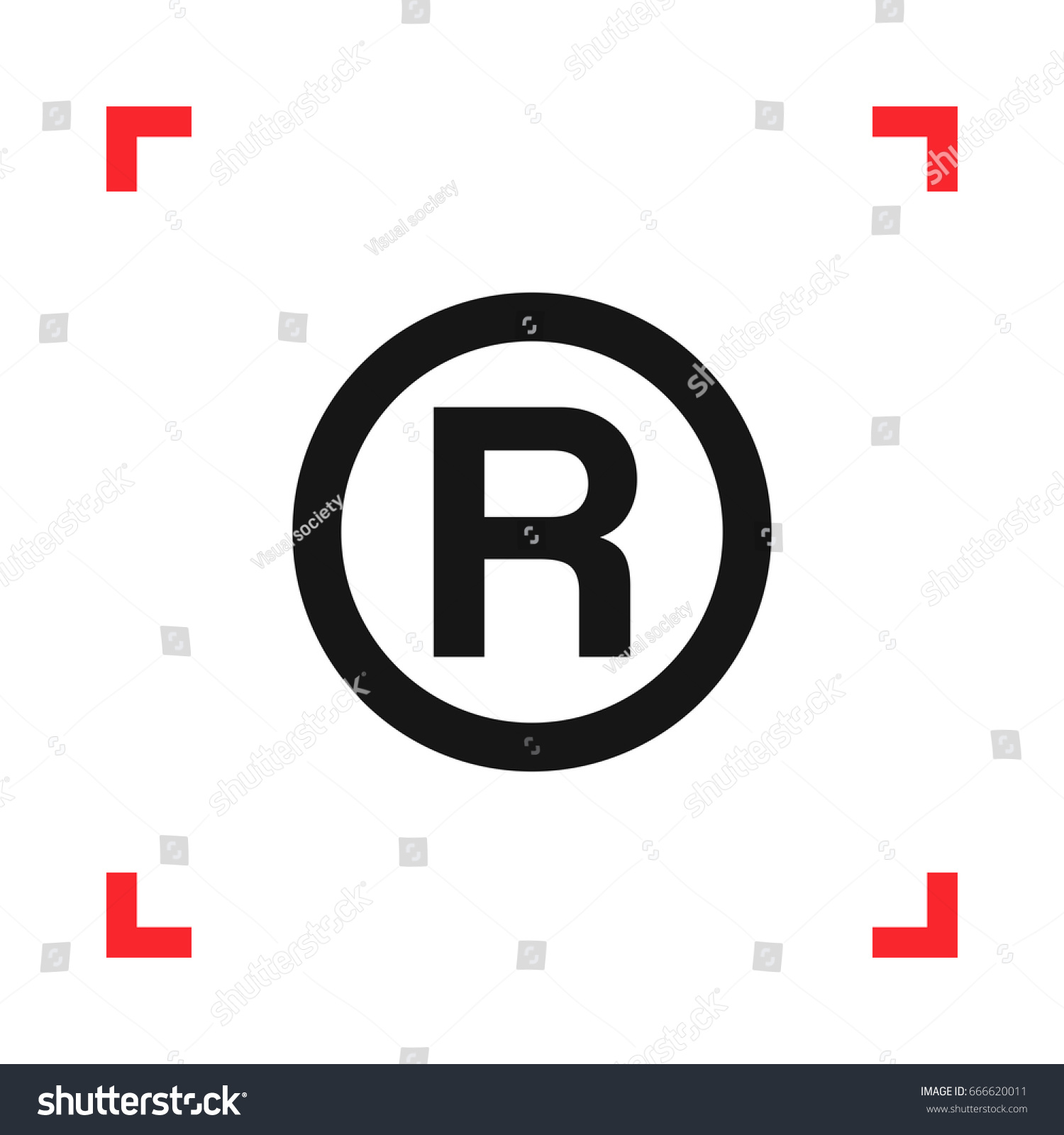R registered trademark symbol red viewfinder stock vector 666620011 r registered trademark symbol in a red viewfinder isolated on white background conceptual vector buycottarizona Gallery