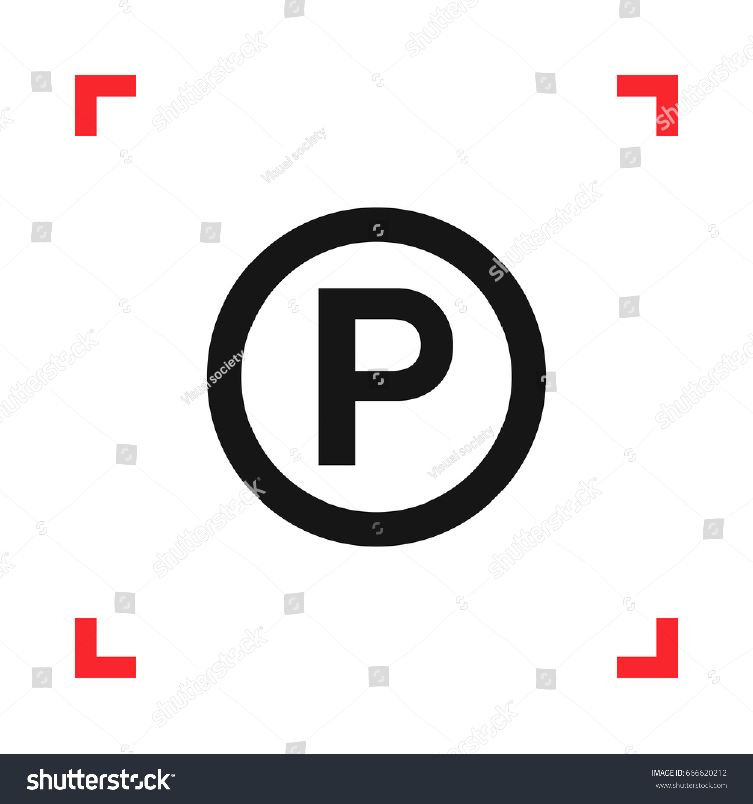 P sound recording copyright symbol red stock vector 666620212 p sound recording copyright symbol in a red viewfinder isolated on white background conceptual biocorpaavc