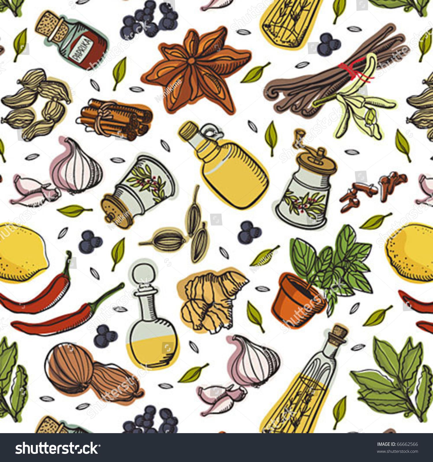Spices Kitchen Pattern Stock-vektorgrafik 66662566 ...