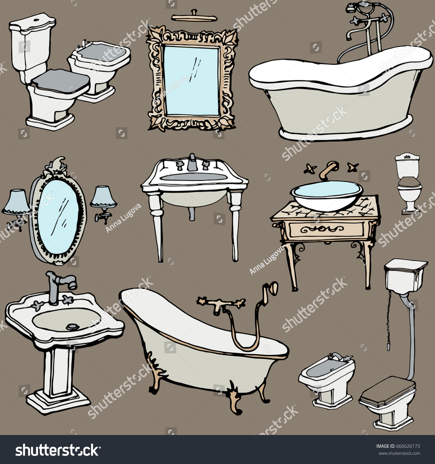 Sketch Bathroom Classic Old Style Interior Stock Illustration