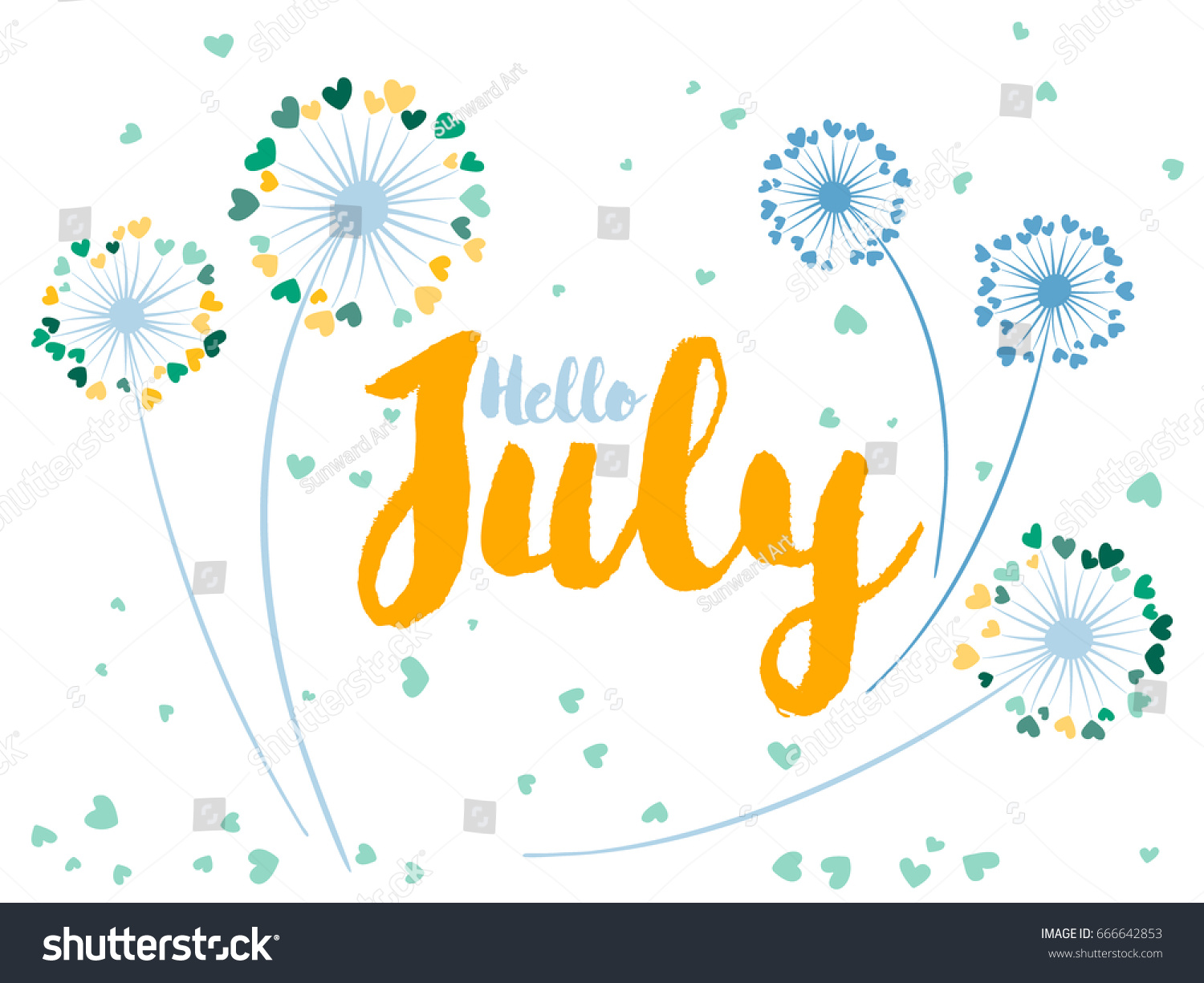 Hello July Vector Card Decorated By Dandelion Flowers With Heart Shaped  Feather Fluff. Colorful Illustration
