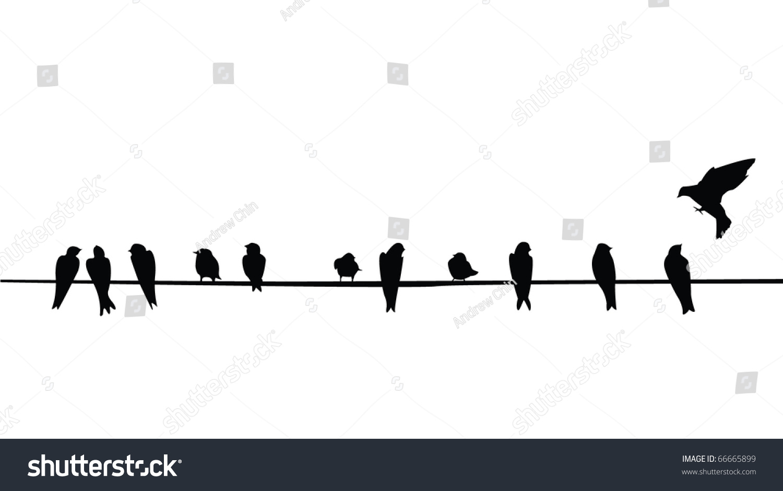 Silhouette Birds Purple Martins On Telephone Stock Vector 66665899 ...