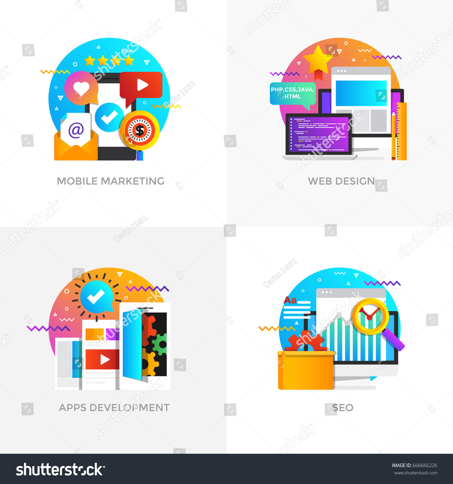 Modern Flat Color Designed Concepts Icons For Mobile Marketing Web Design Apps Development And