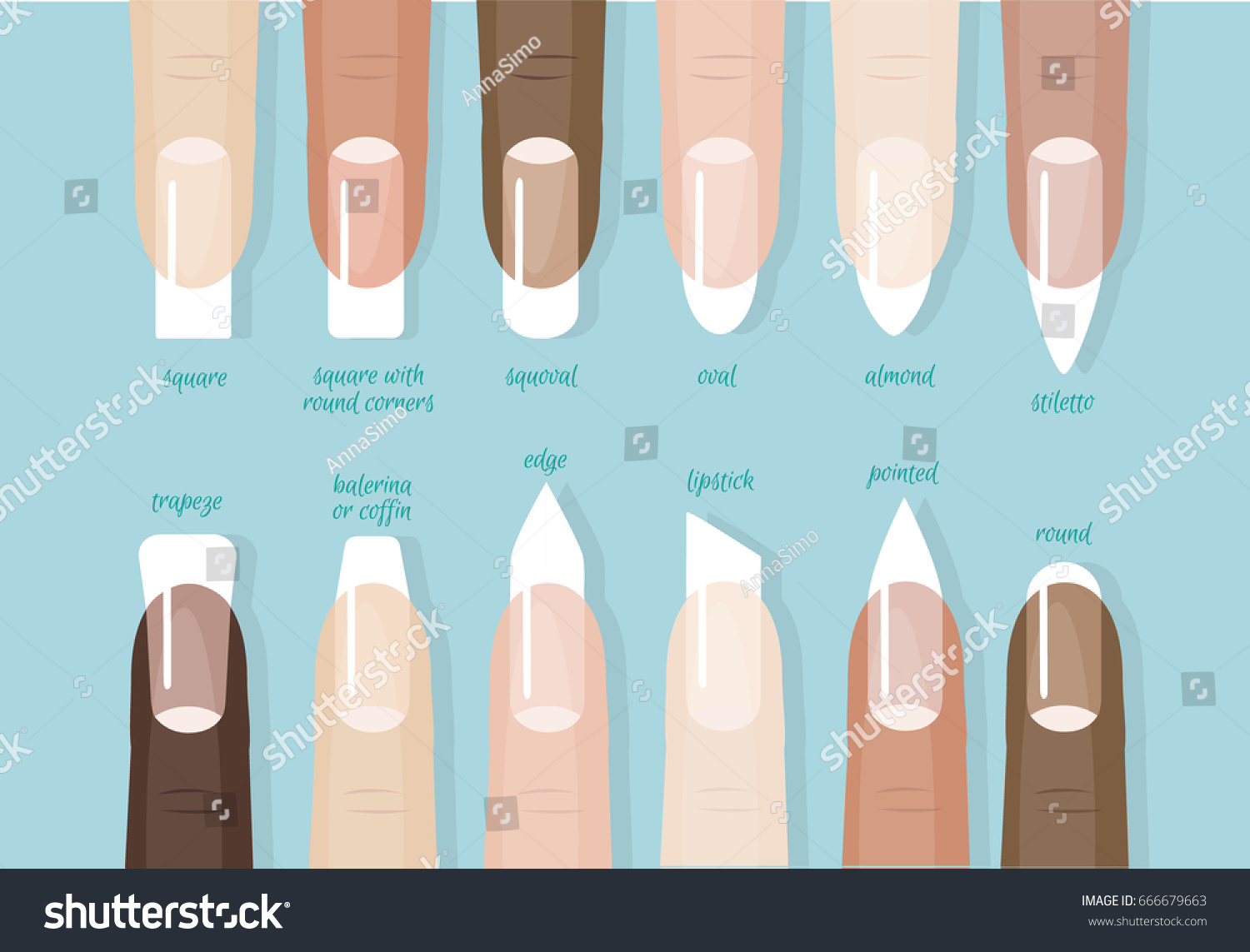Collection Different Shapes Forms Nails French Stock Vector ...