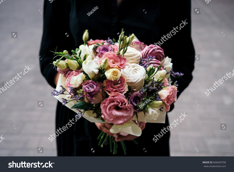 Unusual Bouquet Fresh Flowers Marshmallow Woman Stock Photo (Royalty ...