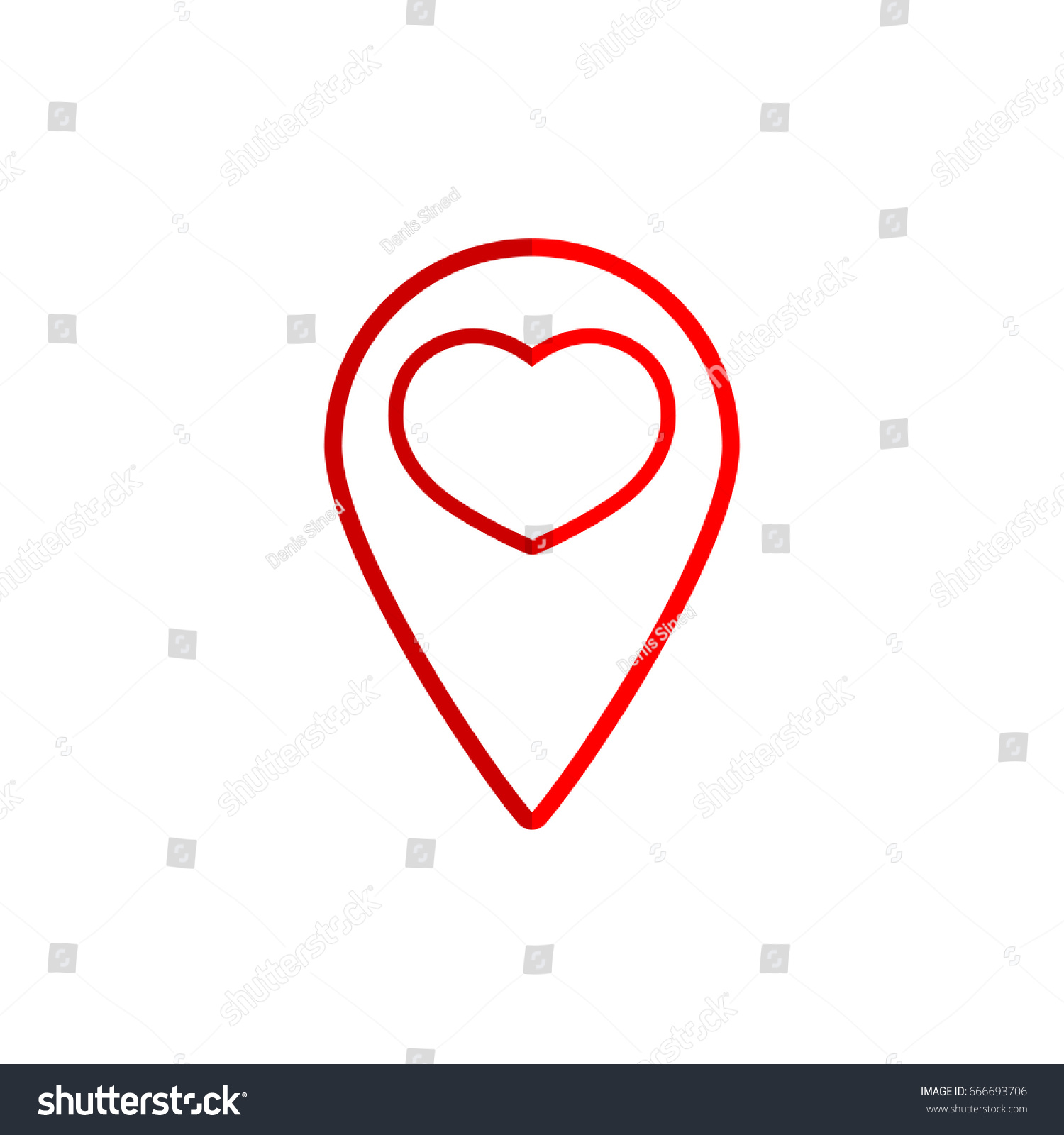Red Pointer With Heart Icon Outline Design Template Vector Illustration