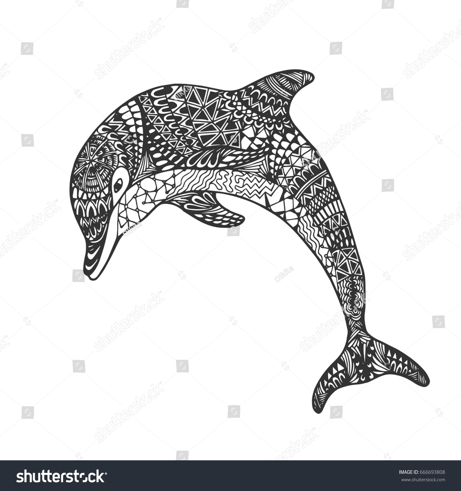 Abstract Dolphin Coloring Pages : Isolated hand drawn black outline monochrome stock vector