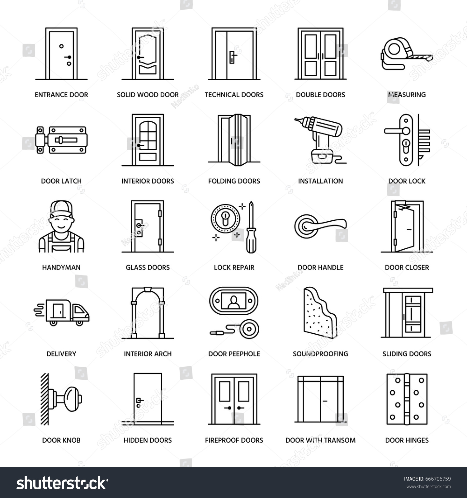Doors installation repair line icons handle 666706759 shutterstock for Interior doors installation services