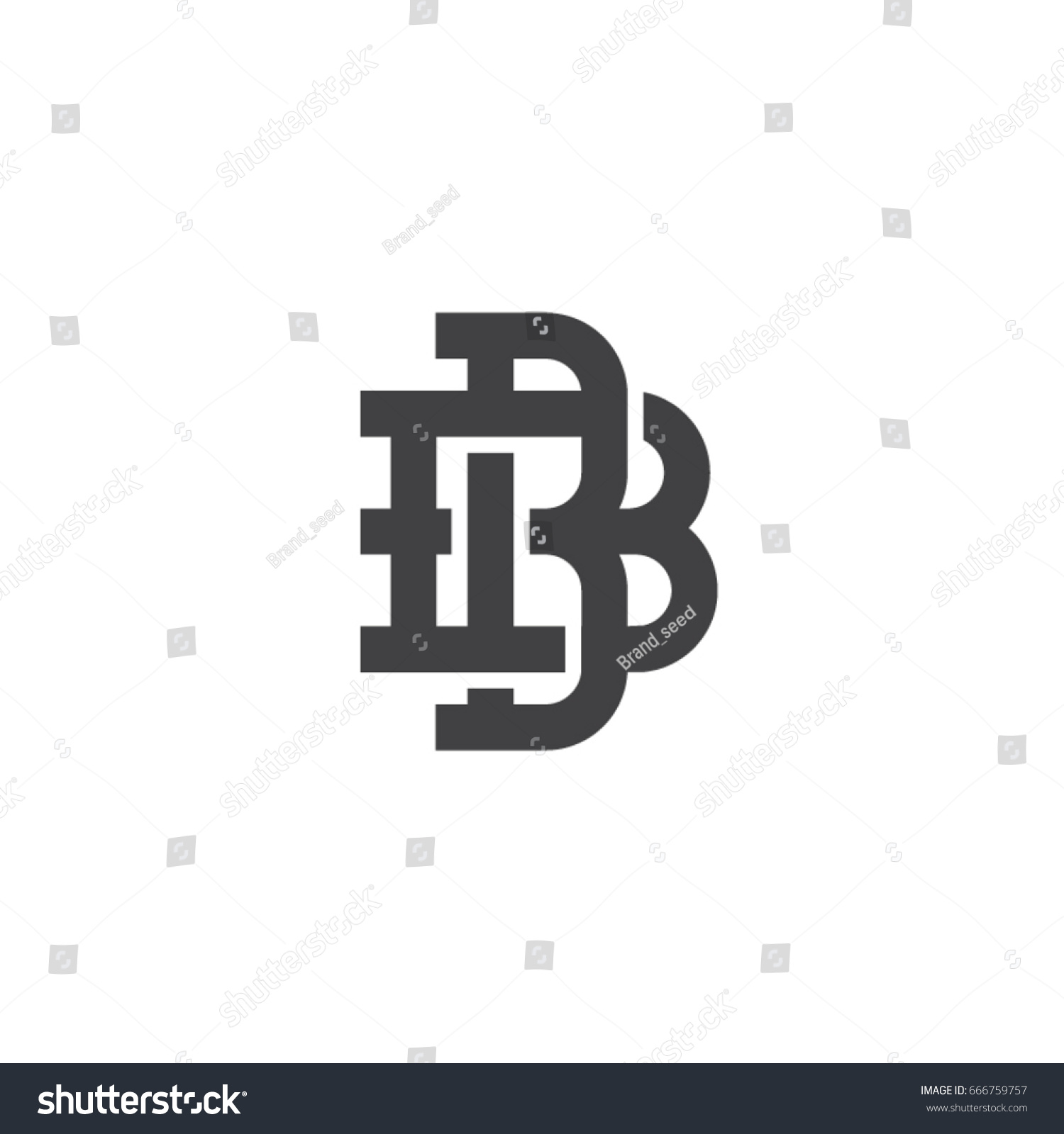 Bb Letter Template Bb Symbol Bb Stock Vector Royalty Free