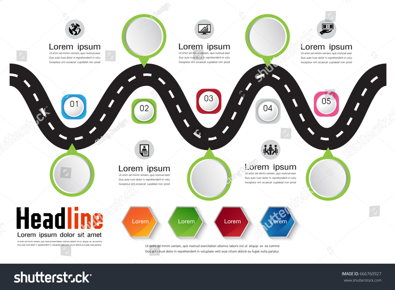 Free infographics template road map