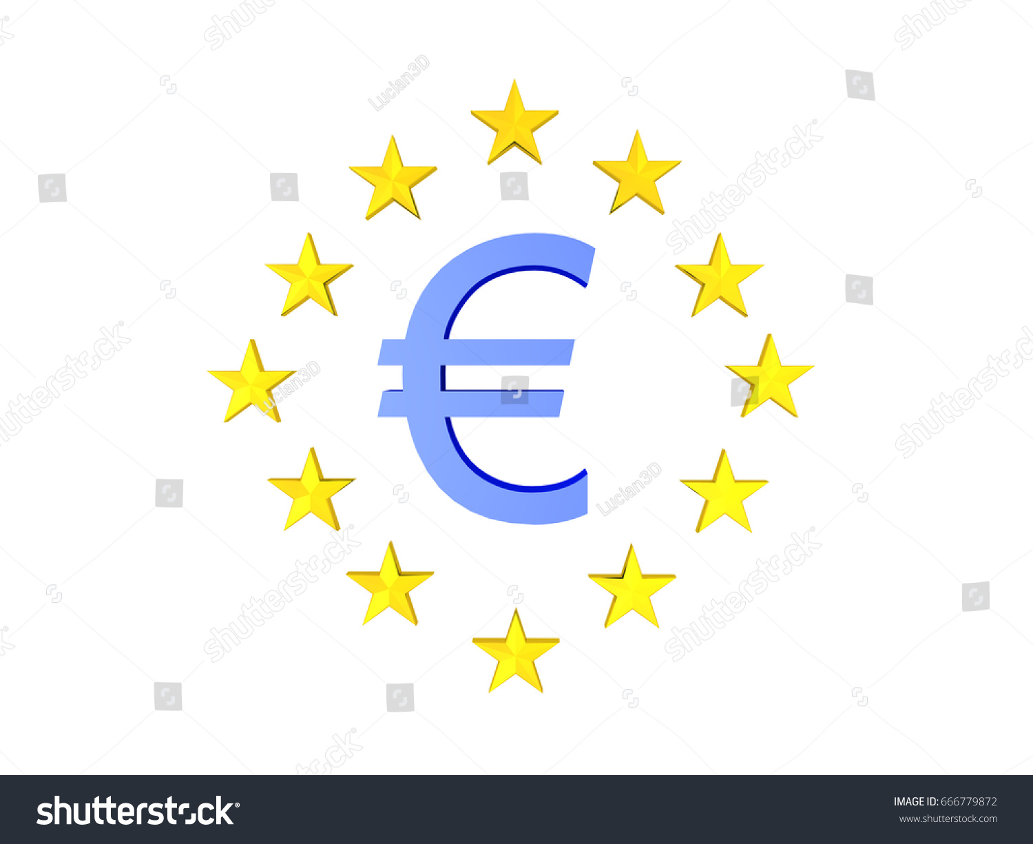3 D Illustration Blue Euro Currency Symbol Stock Illustration