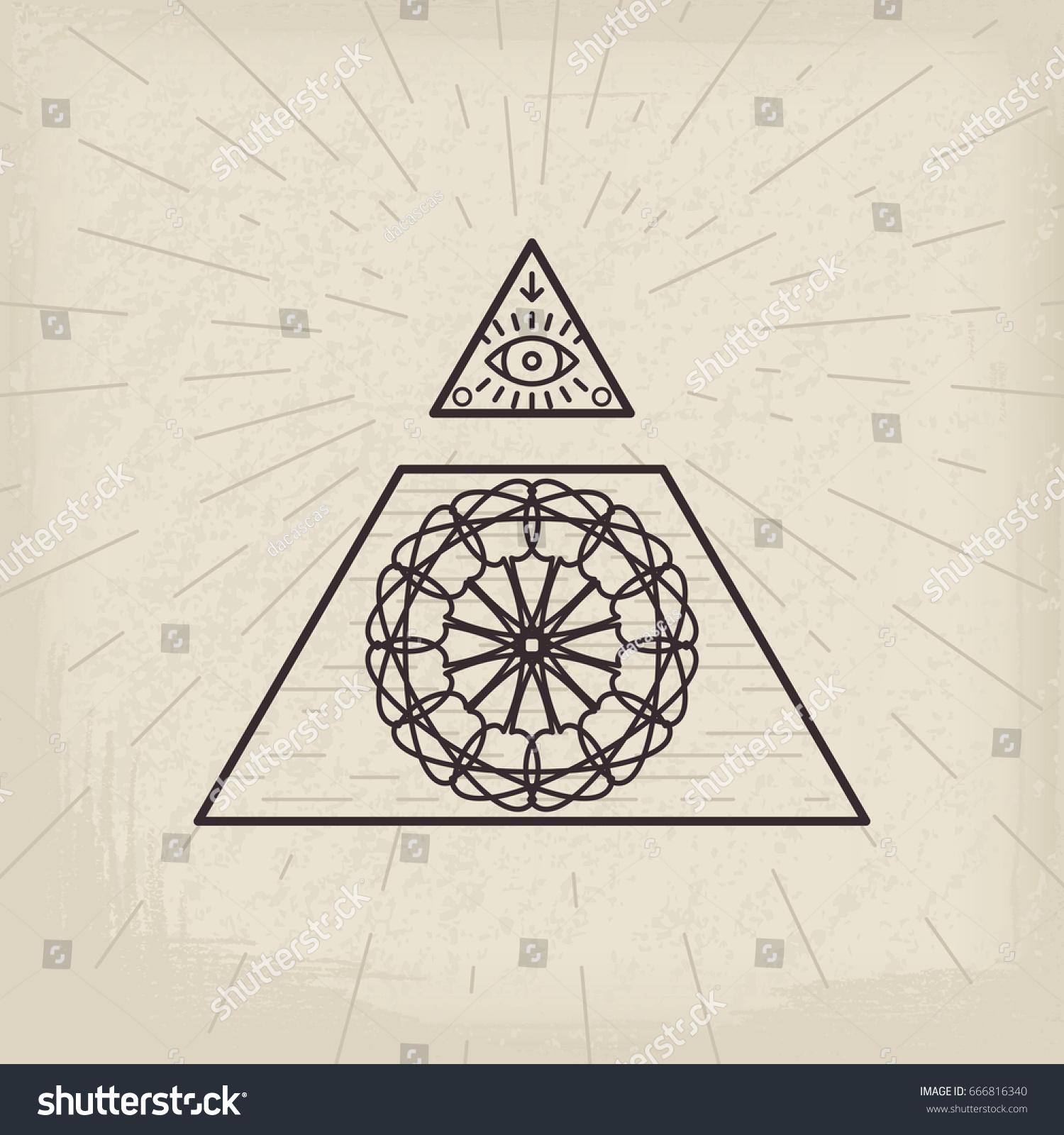 All seeing eye magic circular symbol stock vector 666816340 all seeing eye and magic circular symbol inside triangle pyramid vintage esoteric background buycottarizona Image collections